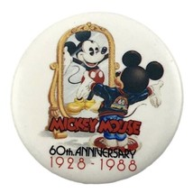 "Disney's Mickey Mouse 60th Anniversary 1928-1988 1.5"" Vintage Pinback Bu... - $8.59"