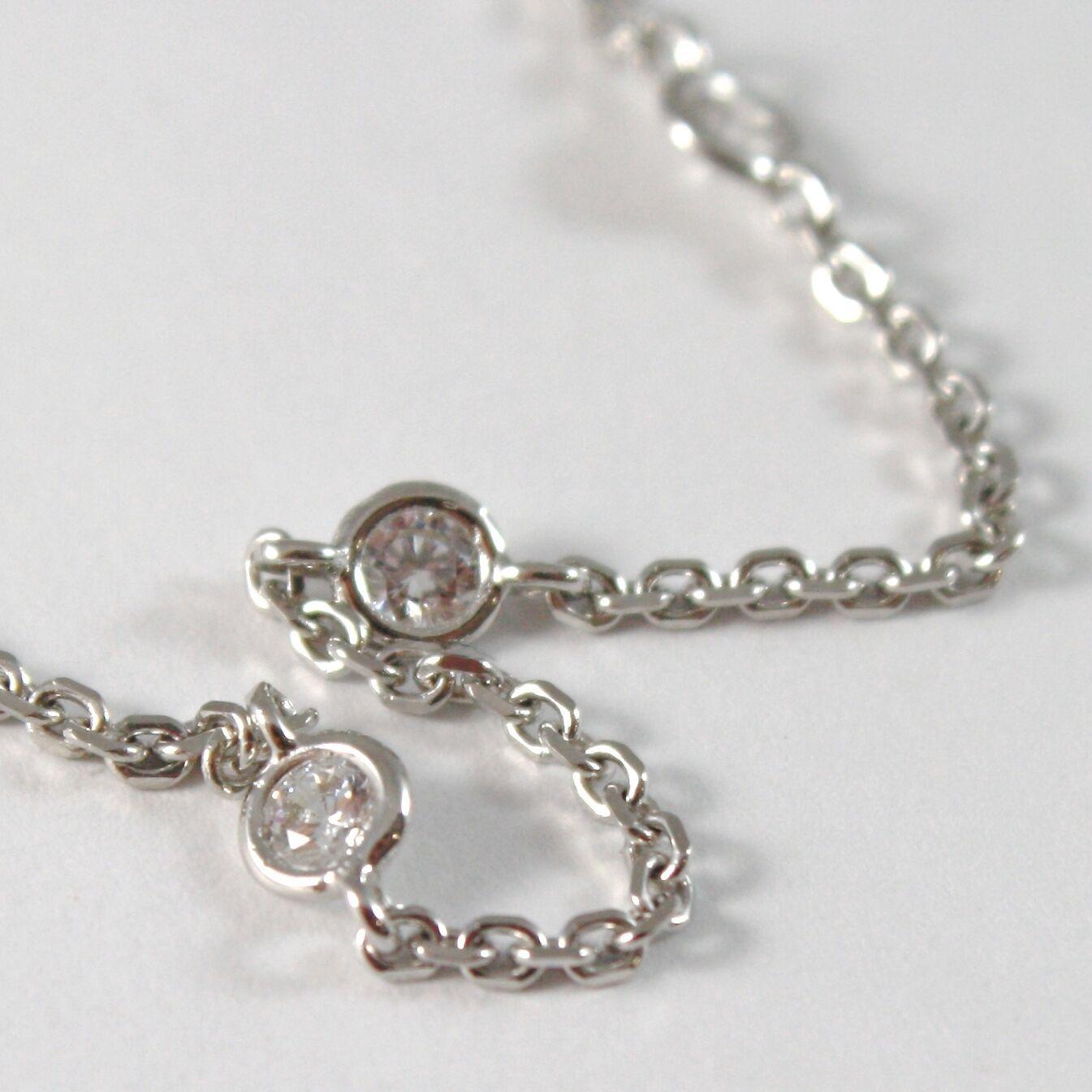 Bracelet en or Blanc 750 18K Zircon et Chaîne Vis- , Longueur 18.5 CM