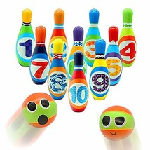 yoptote Kids Bowling Set 10 Colorful Foam Pins and 2 Balls Outdoor Lawn ... - £20.91 GBP