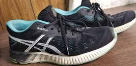 Asics Women's FuzeX Lyte Sneakers Shoes Black Turquoise T670N size 8.5 - $27.49