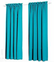 Urbanest Pair of 2 Faux Silk Drapery Curtain Panels with Lining, Teal, 5... - $29.69