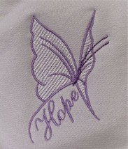 Lilac/Lavender Butterfly HOPE Crew L Orchid Sweatshirt Cancer Aware Unis... - $25.45
