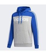 Adidas Men's Blue Grey ESSENTIALS HOODED Comfy SWEATSHIRT GD5476  - $90.05