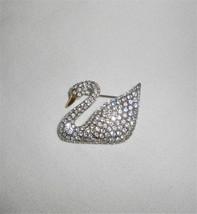 Vintage Swarovski Swan Pave Rhinestone Gold Beak Retired Pin Brooch 1995 - $42.75