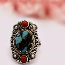 Vintage 925 Silver 12x10 MM Blue Turquoise Coral Gemstone Designer Filig... - $21.55