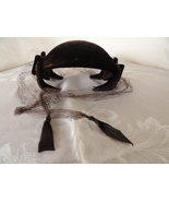 Brown Velvet Cocktail Clamper Hat With Veil Pinehurst Fifth Avenue New Y... - $29.99
