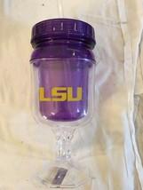 **New** Lsu TIGERS--NCAA--ACRYLIC Plastic Footed Drinking Glass / STRAW--TIGERS - $13.49