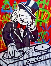 "Alec Monopoly Oil Painting on Canvas Urban art wall decor The DJ Music 28x36"" - $33.48"