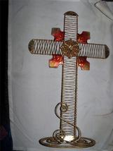 xl large glitter christan cross GOLD CHRISTMAS gift statue god angel heaven - $20.77