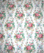 Vintage Barkcloth Era Fabric Cottage Roses Shabby Chic - $65.59
