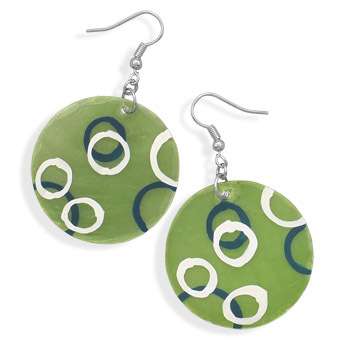 Primary image for Green Shell Fashion Earrings With Hand Painted Circles
