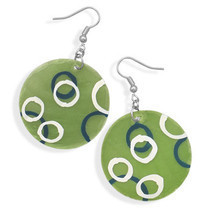 Green Shell Fashion Earrings With Hand Painted Circles - $12.99