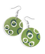 Green Shell Fashion Earrings With Hand Painted Circles - £10.20 GBP