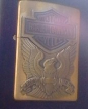 Harley Davidson Motorcycle Brass lighter with case - $85.00