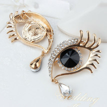 Black Eye Brooch Pin With Crystal Rhinestones in gold color plated - $19.64