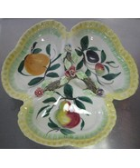 Vintage Pottery Divided Candy Dish Marked Italy & Numbers Floral & Fruit... - $30.00