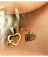 TWO Tiny Vintage 14K Gold Pendants Double Hearts and MOM  .6 Michael Ant... - $52.25