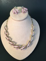 Vintage Costume Jewelry Screw On Earrings w/Hook Clasp Necklace Set Pink... - $27.09