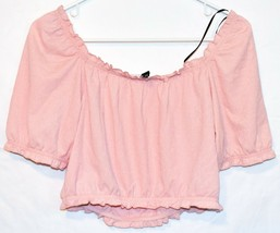 Divided by H&M Women's Pink Smocked Ruffle Crop Top Size S image 2
