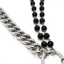 Necklace Silver 925, Double Row Onyx, Chain Curb , Heart Milled image 4