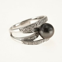 14k White Gold South Sea Black Pearl Ring With Diamonds UK Size N BHS - $692.95