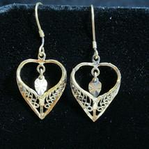 Vintage 10K Gold 925 Silver Filigree Dangle Earrings Heart Idaho Estate Find - £23.53 GBP