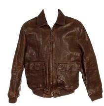 J Crew Men's Leather Flight Jacket Coat 17971 Medium - $432.39