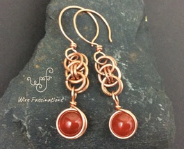 Handmade copper earrings: chainmail helm weave with wire wrapped red agate - $27.00