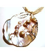 Genuine Clustered Pearls in large Seashell Pendant Necklace  - $9.99