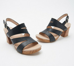 Dansko Leather Cut-Out Heeled Sandals - Ashlee Black EU 40 - $98.99