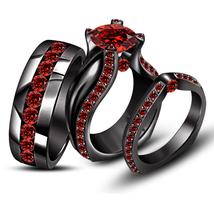 His & Her Black Gold Fn. 925 Silver Red Garnet Wedding Trio Ring Set & Free Gift - $178.99