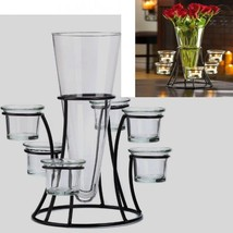 Black Candelabra Candle Holder Wedding Centerpiece w Vase - $17.77