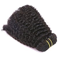 Anrosa Afro Kinky Clip ins Human Hair 1B Natural Black Afro Kinkys Curly Clip in image 4