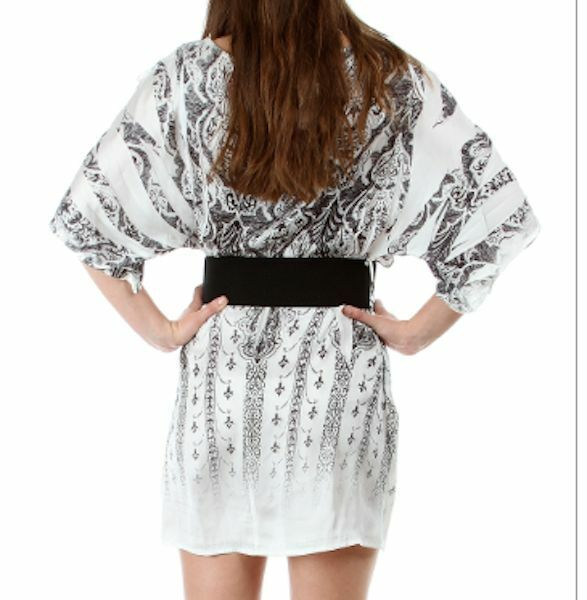 open shoulder short cocktail clubwear tunic mini dress belted  image 4
