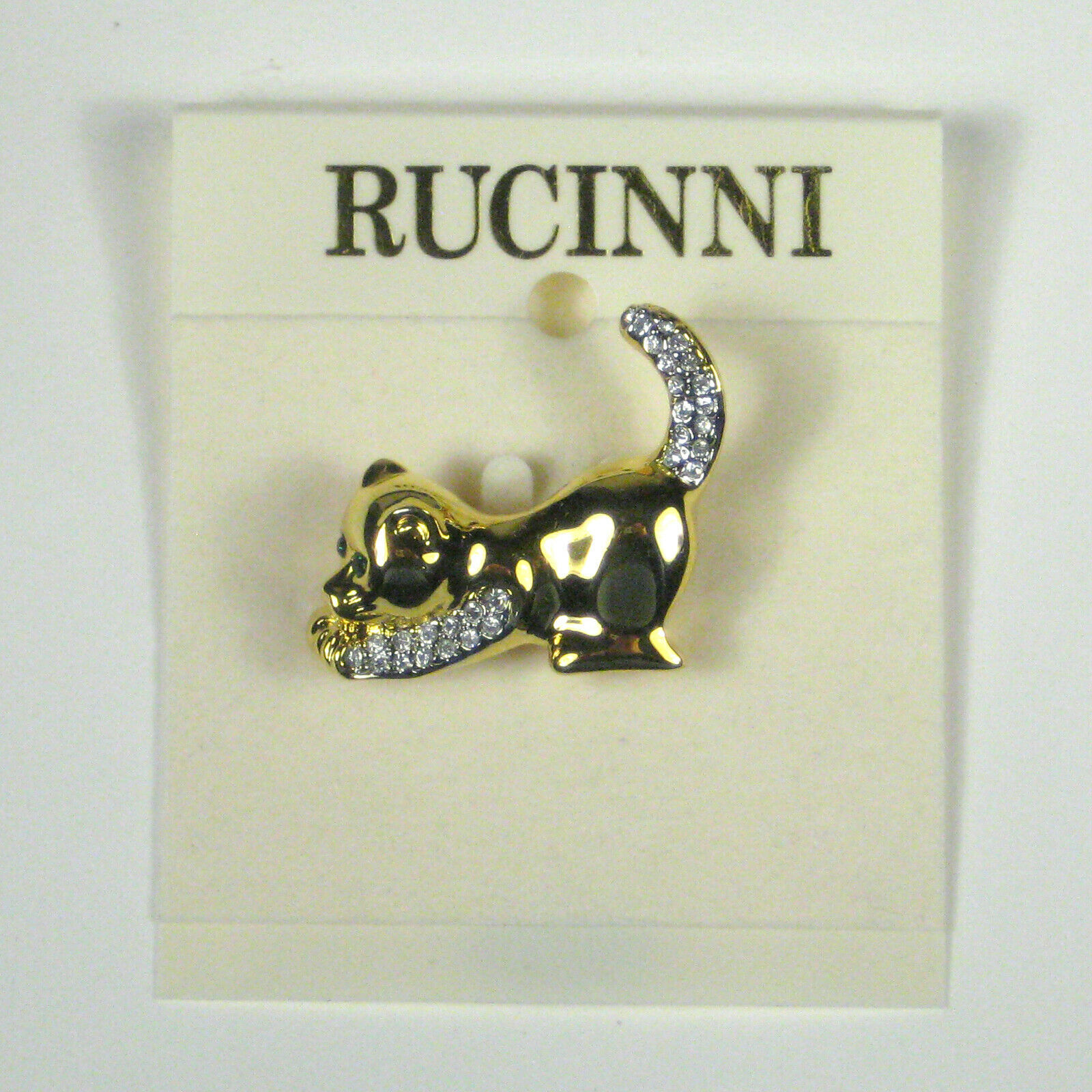 Primary image for NEW Rucinni Cat Jewelry Brooch Pin 1.25 In Goldtone Womens Rhinestones