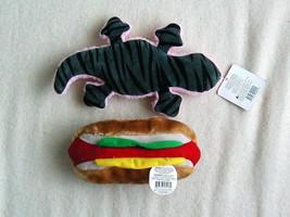 Lot of 2 NWOT Dog Toys Plush Squeaky Hot Dog Alligator - $7.18