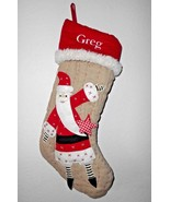 Pottery Barn Kids Greg Name Christmas Stocking Personalized Santa Tan Re... - $16.79