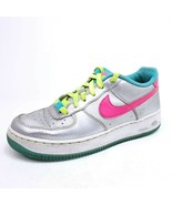 Nike Air Force 1 Womens Size 7 Youth Sz 6 Metallic Silver Hyper Pink 314... - $27.51