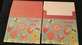 2-Galison glittered flower/bee blank THANK YOU CARDS-pink envelopes - $4.05