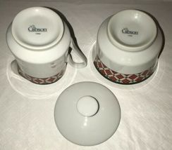 Windsor Gibson China Red Green Christmas Checked Sugar & Creamer Lot Unused image 5