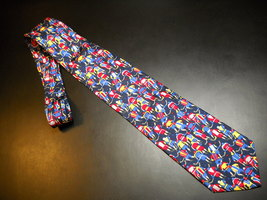 Alynn Neckwear Neck Tie Slap Shot Multiple Colorful Hockey Players on Da... - $11.99