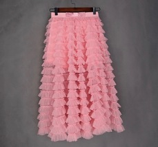 Blush Tiered Midi Tulle Skirt Blush Bridesmaid Skirt Outfits Tulle Puffy Skirts image 8