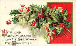Christmas Good Wishes 1910 Post Card - $5.00