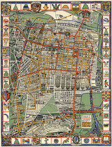 Early Pictorial Map City of Mexico & Surroundings Aztec Symbols Historic Poster - $12.87+