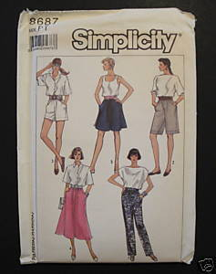 Simplicity 8687 Misses Casual Skirt Shorts Pants Petite 6-8 Easy to Sew Pattern