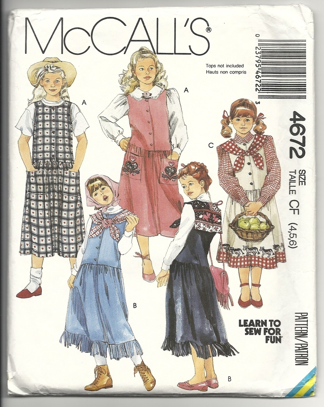 McCall's 4672 Learn To Sew For Fun Girl's Jumpers 4,5,6 Collar and Appliques McCall's