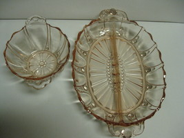 Anchor Hocking Glass Oyster & Pearl Oblong Divided Relish Tray and Handl... - $43.99