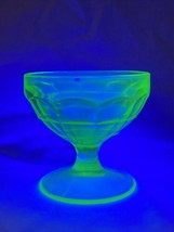 Anchor Hocking Block Optic Round Footed Sherbet Uranium Depression Glass - $14.40