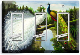 Peacock Birds White Colorful Feathers 3 Gang Gfci Light Switch Plate Room Decor - $14.57