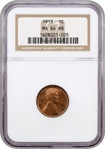 1913 1c NGC MS64 RB - Lincoln Cent - $106.70